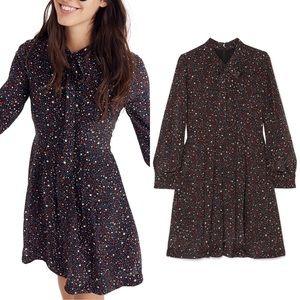 MADEWELL Balsam Tie Neck Dress Black Star Print